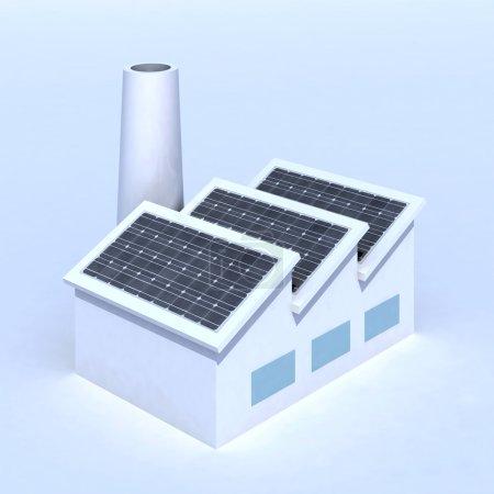 Foto de Fábrica con paneles solares 3d ilustración - Imagen libre de derechos