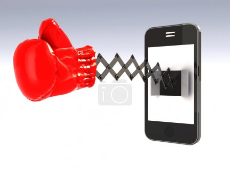 Smartphone with boxing glove