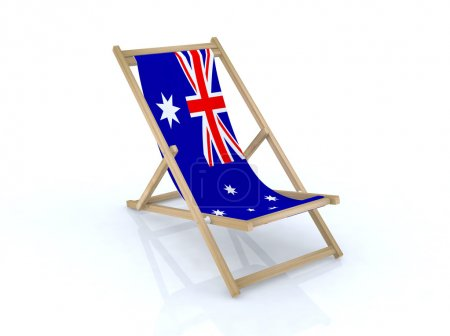 Wood beach chair with australian flag