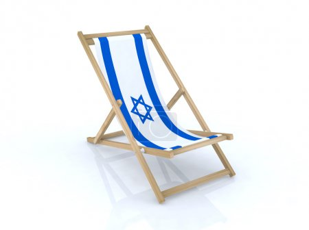 Wood desk chair with israel flag