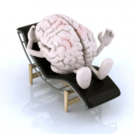 Photo for Brain that rests on a chaise longue, the concept of relaxing the mind - Royalty Free Image