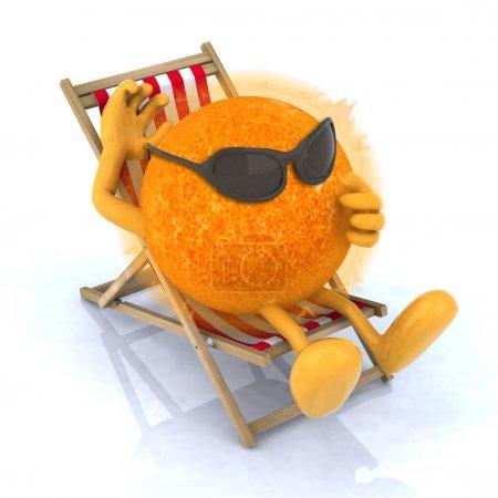 Photo pour Le soleil avec des lunettes de soleil allongé sur une chaise de plage, illustration 3d - image libre de droit