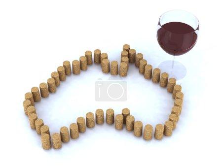 Photo pour Carte australienne avec le bouchon et le verre de rouge vin illustration 3d - image libre de droit