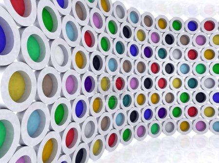 Cilindros multicolores