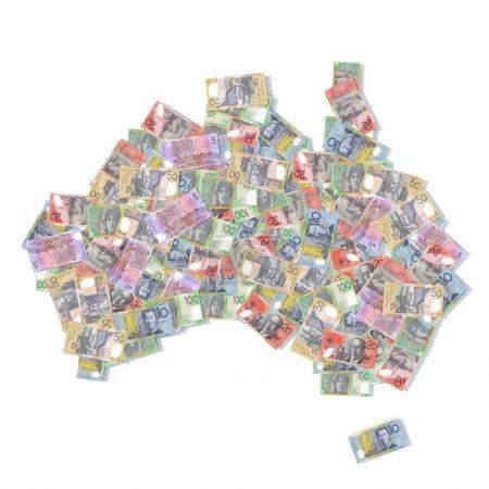 Photo pour Australie carte avec billets de banque illustration 3d - image libre de droit