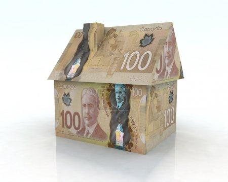 Photo pour Maison en dollar canadien, illustration 3D - image libre de droit