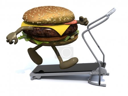 Burger with arms and legs on a running machine