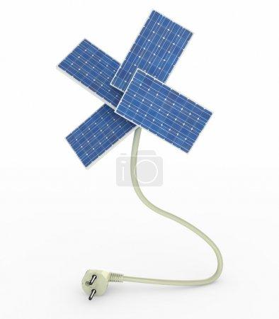 Foto de Cuatro paneles solares como una flor sobre el cable de energía sobre fondo blanco, Ilustración 3d - Imagen libre de derechos