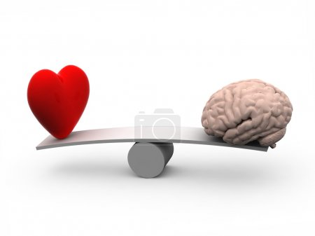 Seesaw with heart and brain, 3d illustration...