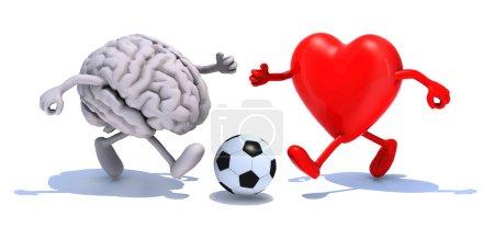 Photo pour Cerveau humain et le cœur avec les bras et les jambes en cours d'exécution à un ballon de soccer, illustration 3d - image libre de droit