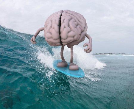 Photo pour Cerveau humain avec bras et jambes surfant sur la mer, illustration 3D - image libre de droit