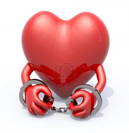 Photo for Heart with arms and handcuffs on hands, 3d illustration - Royalty Free Image