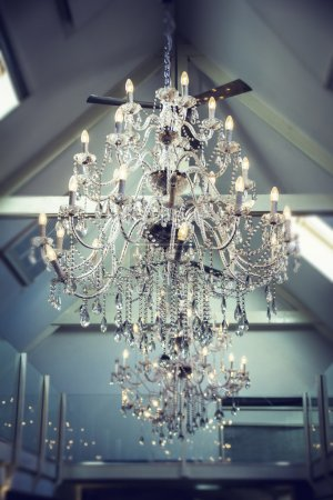 Photo for Two pretty large chandeliers on the ceiling - Royalty Free Image