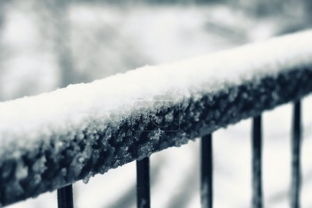 Photo for A fence with snow - Royalty Free Image