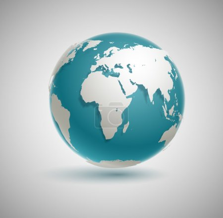 Illustration for Globe icon with smooth vector shadows and white map of the continents of the world - Royalty Free Image