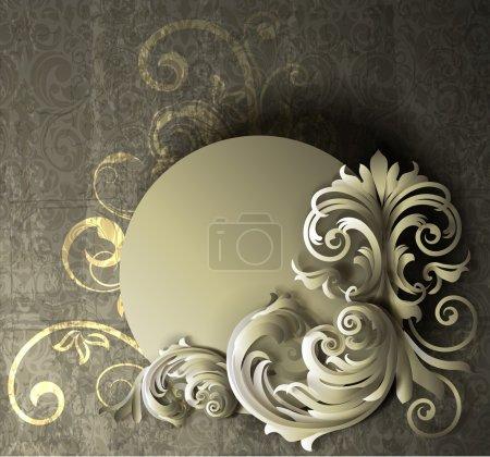 EPS10 file. Floral frame design with grunge background.