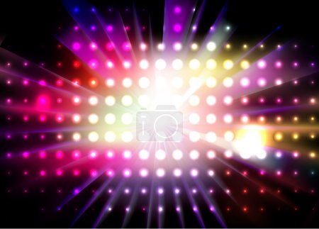Illustration for Vector party background with led display background and light - rays. - Royalty Free Image