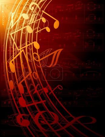 Illustration pour Conception de fond musical avec des symboles musicaux incurvés - image libre de droit