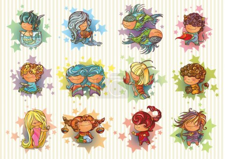 Illustration for Set of little playful Zodiac signs - Royalty Free Image