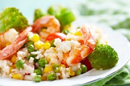 Rice with vegetables and shrimps