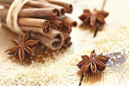 Cinnamon sticks, brown sugar and anise stars