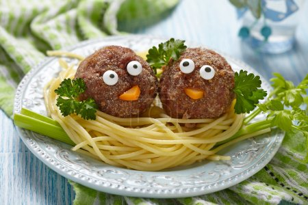 Photo for Spaghetti with meatballs for kids - Royalty Free Image