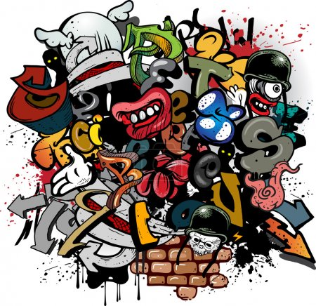 Illustration for Graffiti elements on white background - Royalty Free Image