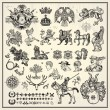 Collection of heraldic elements on light backgroun...