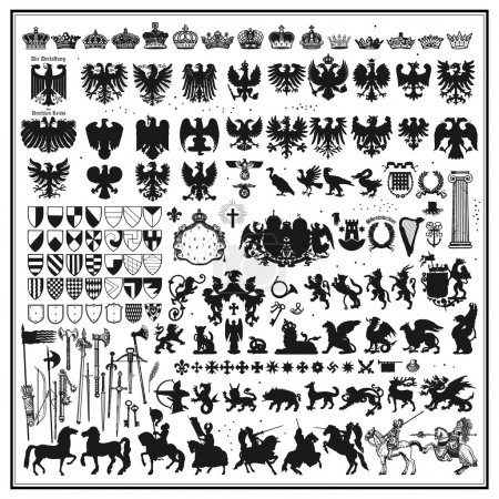Illustration for Silhouettes of heraldic design elements - Royalty Free Image