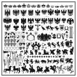 Silhouettes of heraldic design elements...