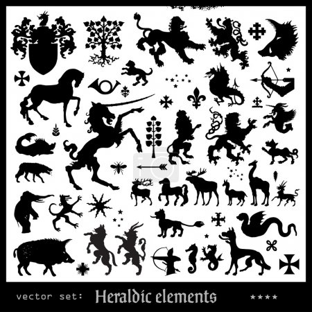 Silhouettes of heraldic elements...
