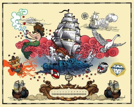 Illustration pour Ensemble de tatouages isolés sur fond clair - image libre de droit