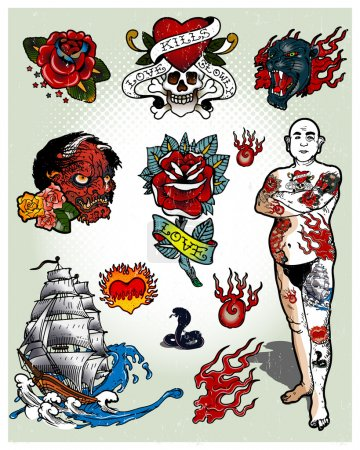 Illustration for Set of tattoos isolated on light background - Royalty Free Image