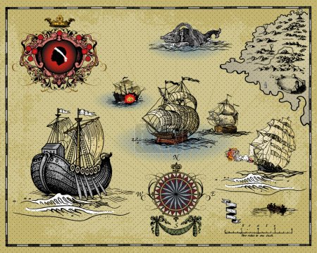 Illustration for Set of antique map elements isolated on light background - Royalty Free Image