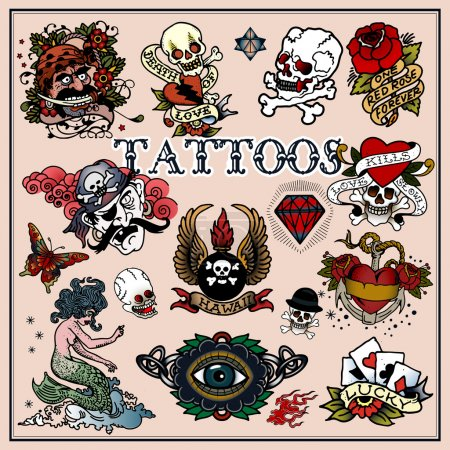 Illustration for Traditional tattoos isolated on light backround - Royalty Free Image