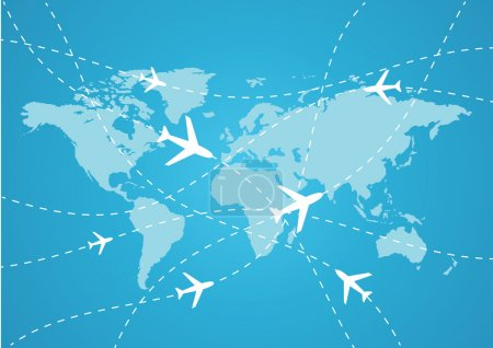 Illustration for Vector world travel map with airplanes - Royalty Free Image