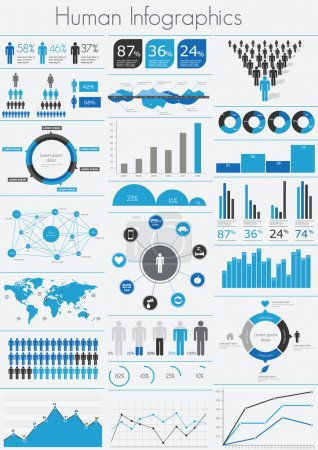 Illustration for Human infographic vector illustration. World Map and Information Graphics - Royalty Free Image