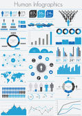 Human infographic vector illustration World Map and Information