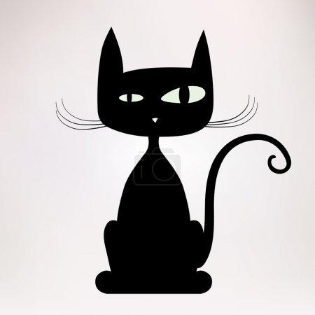 Illustration pour Silhouette noire de chat bizarre. Illustration vectorielle . - image libre de droit