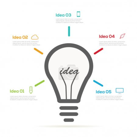 Illustration for Creative design Infographic light bulb - Royalty Free Image