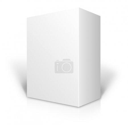 Ilustración de Blanca caja 3d en blanco aislada sobre fondo blanco - Imagen libre de derechos