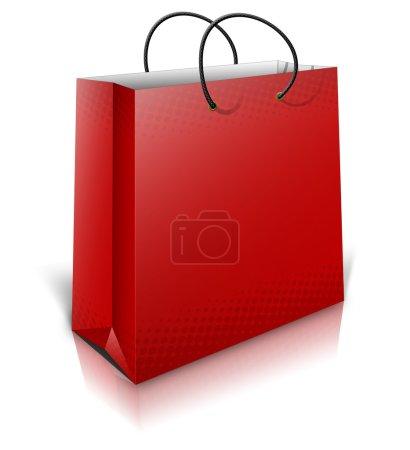Illustration pour Sac cadeau rouge 3D avec ombres isolées sur fond blanc - image libre de droit