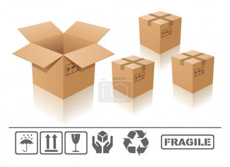 Illustration pour Boîte en carton ouvert et fermé avec signe fragile sur fond blanc - image libre de droit