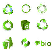Green eco bio Recycle Symbol isolated on white background