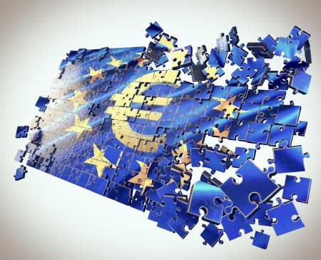 Photo for European Union jigsaw puzzle with Euro symbol. 3-d design, points economic crisis - Royalty Free Image