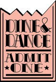 Pink dine and dance admission ticket on a white background