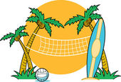 Surfboard leaning against a palm tree near a beach volleyball net