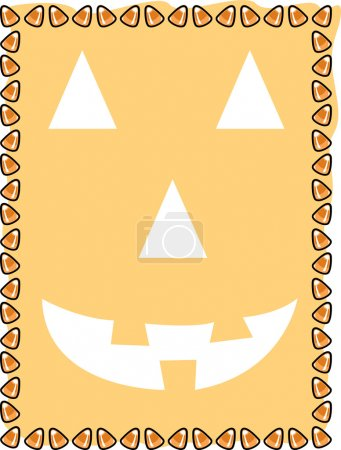 Orange background with a jack o lantern face and a border of candy corn