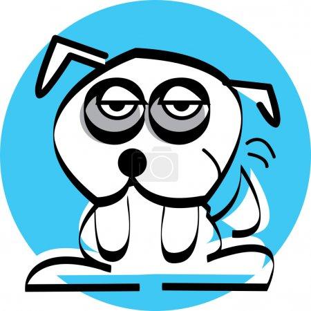 Sad little white dog with dark circles under his eyes