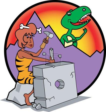 Prehistoric Cavewoman Chiseling a Modern Appliance